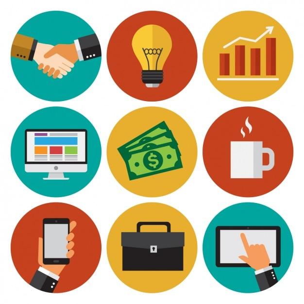 Colección de iconos de negocios Vector Gratis