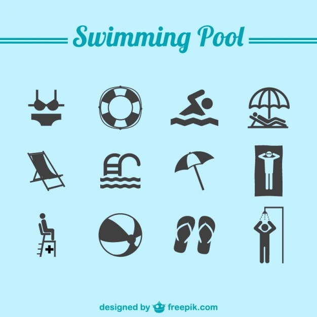 Colecci n de iconos de piscina descargar vectores gratis for Imagenes de piletas redondas