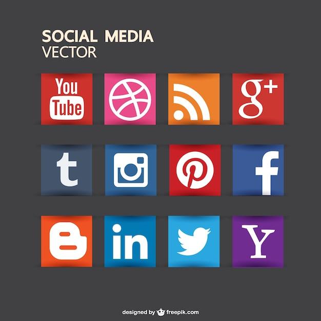 Colección de iconos de redes sociales a color Vector Gratis