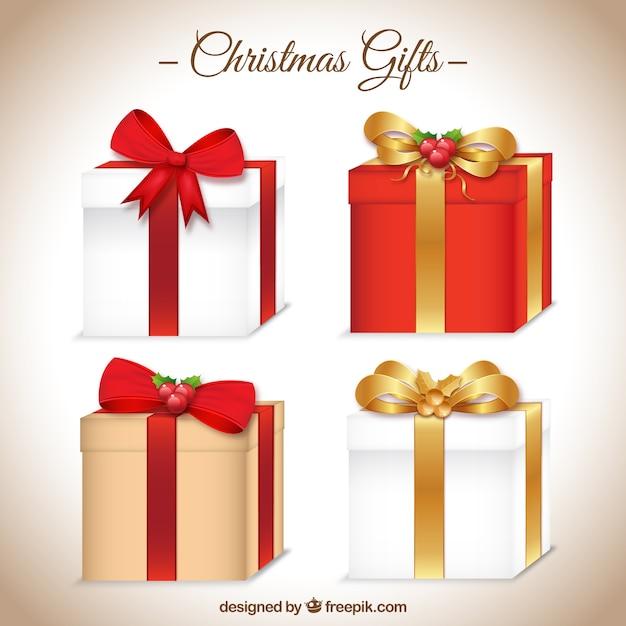 coleccin de iconos de regalos de navidad vector gratis