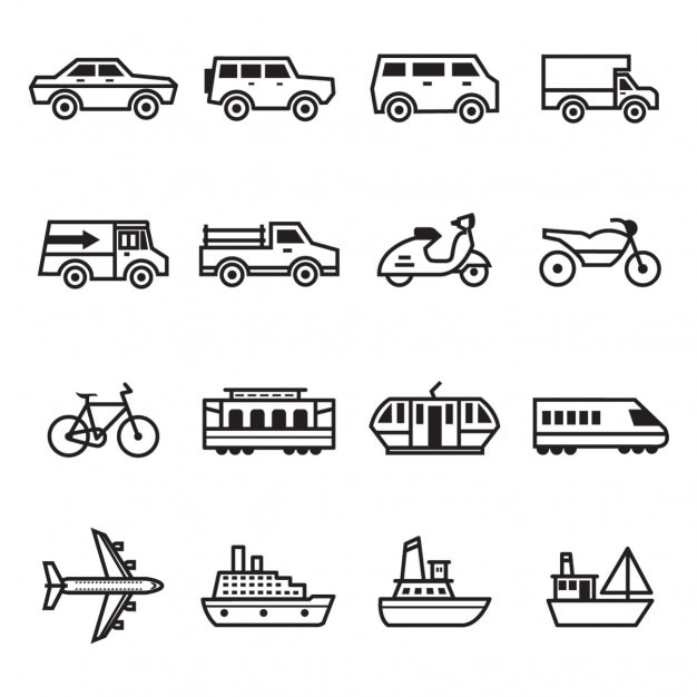 colecci u00f3n de iconos de transporte