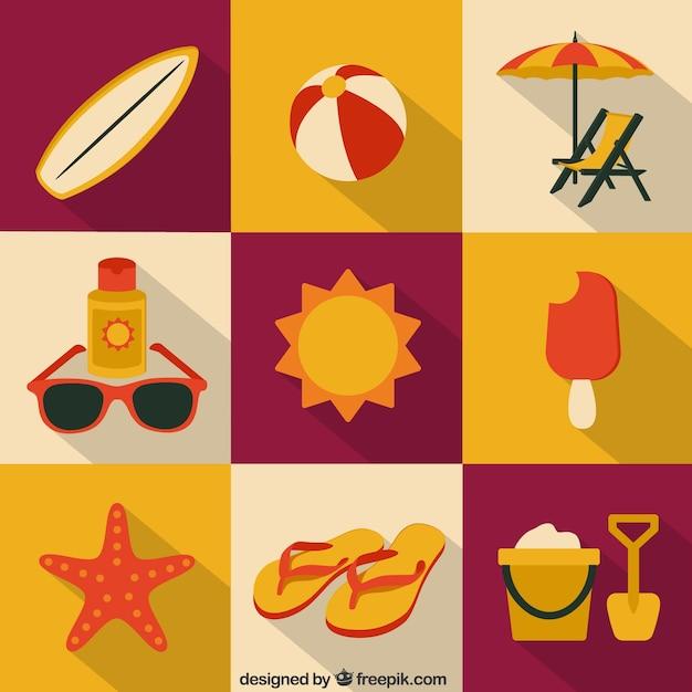 Colecci n de iconos de verano descargar vectores gratis for Mobili stilizzati