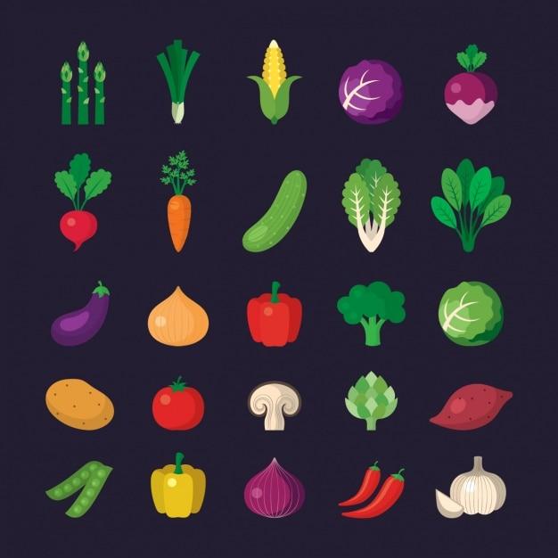 Colección de iconos de verduras Vector Gratis
