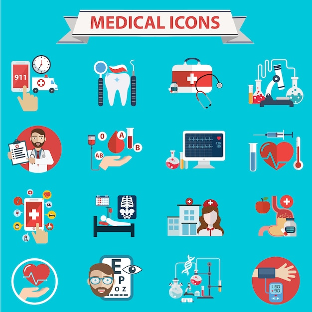 Colección de iconos médicos Vector Gratis