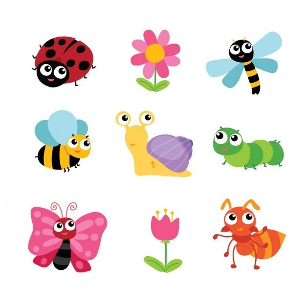 Colección de insectos y flores Vector Gratis