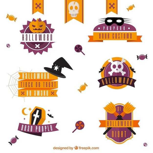 Colección de insignias de halloween en colores naranja y morado ...