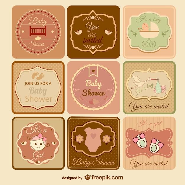Colección de invitaciones retro para presentación de bebé ...
