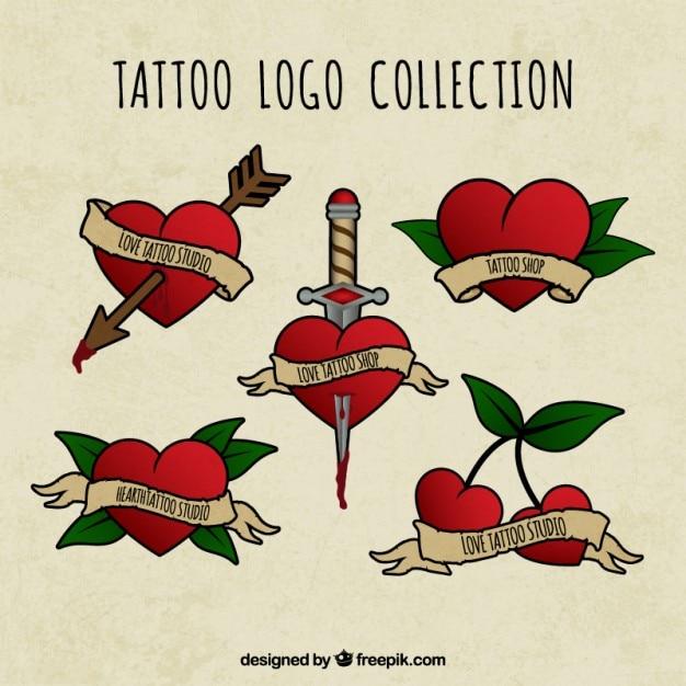Colección de logos de tatuaje dibujados a mano con corazón ...