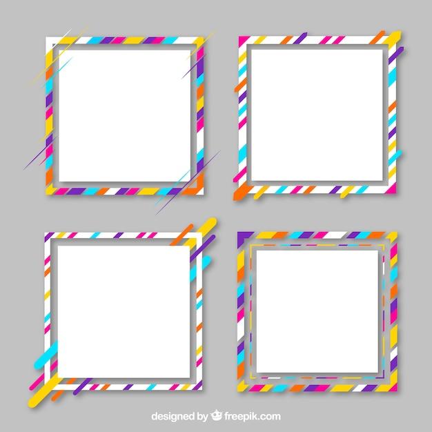 Colección de marcos con líneas coloridas | Descargar Vectores gratis