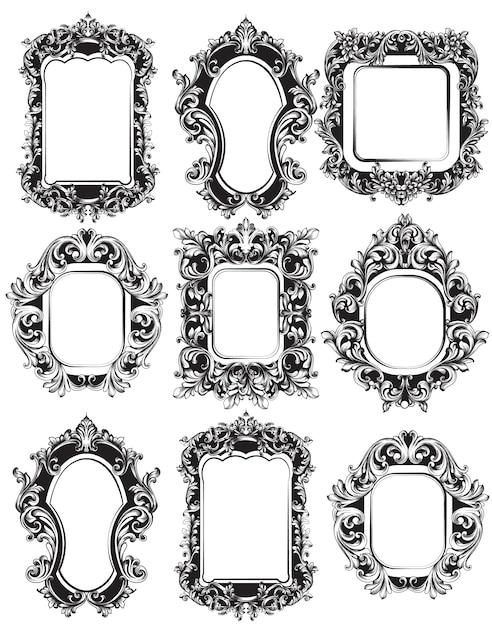 Colección de marcos de espejo barroco | Descargar Vectores Premium