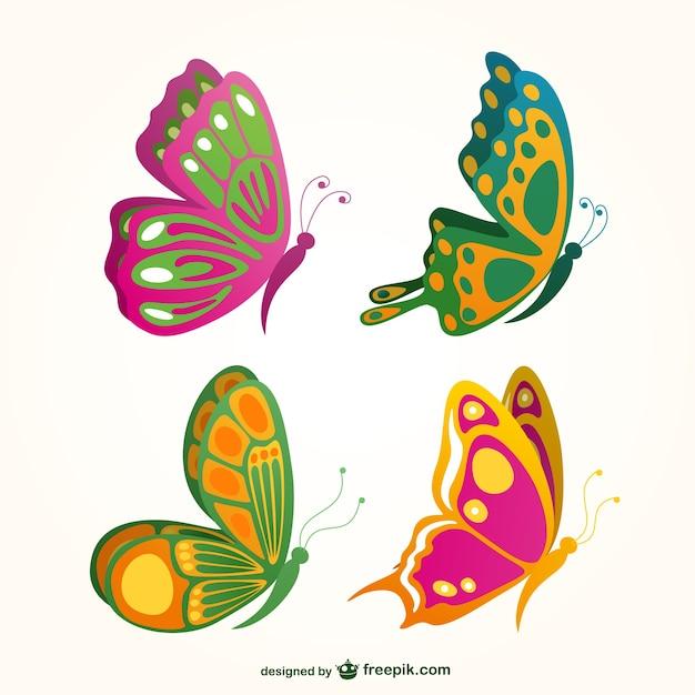Colecci n de mariposas de colores descargar vectores gratis - Imagenes de mariposas de colores ...