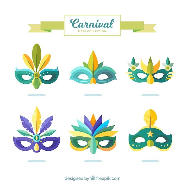 Colección de máscaras de carnaval   Descargar Vectores gratis