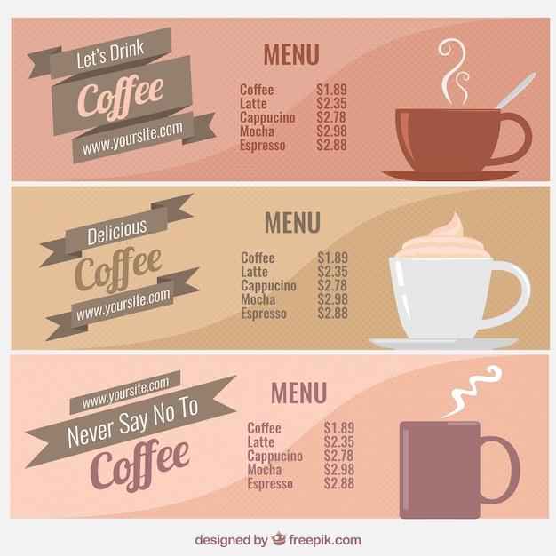 Colecci n de men s de caf vintage descargar vectores gratis for Disenos de menus para cafeterias