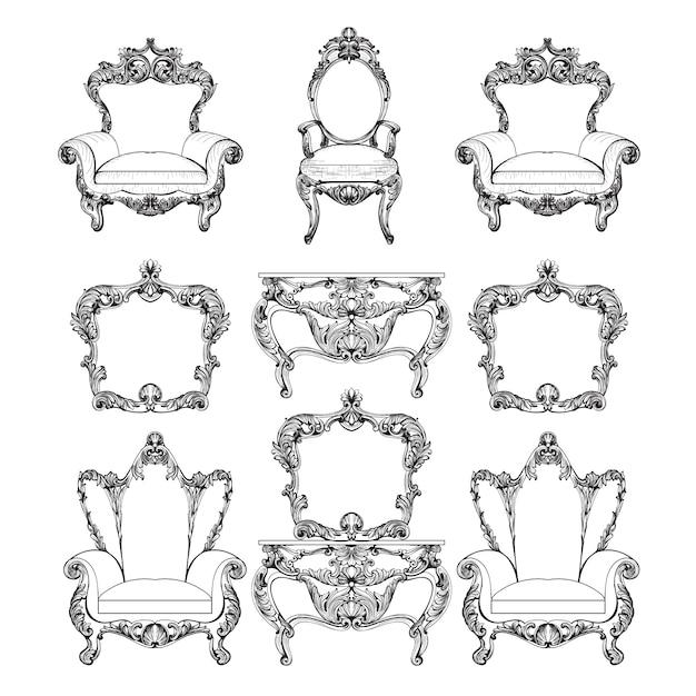Coleccin de muebles barrocos Descargar Vectores gratis