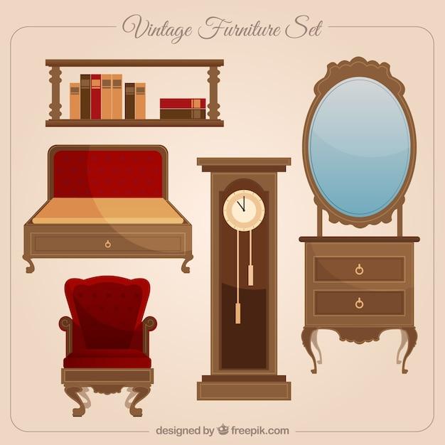 Colecci n de muebles de poca descargar vectores gratis for Muebles de epoca