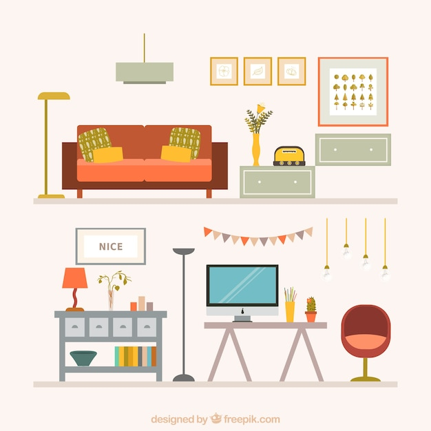 Colecci n de muebles para el hogar descargar vectores gratis for Decoracion del hogar muebles