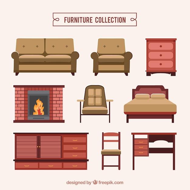 Colecci n de muebles realistas descargar vectores gratis for Muebles gratis