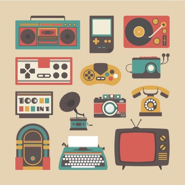 Colecci n de objetos vintage descargar vectores gratis - Objetos vintage ...