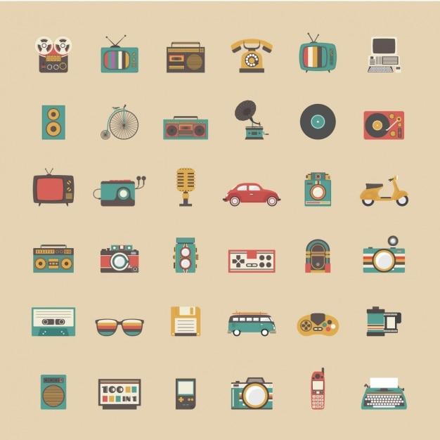 coleccin de objetos vintage vector gratis