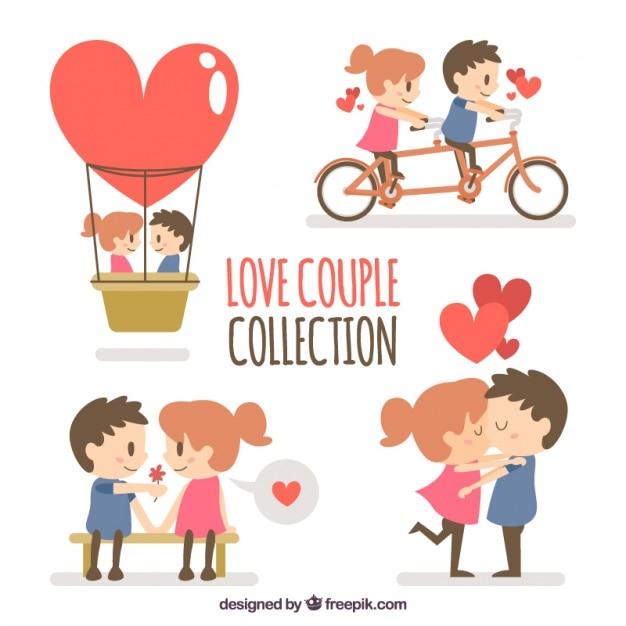 Colección de pareja encantadora Vector Gratis