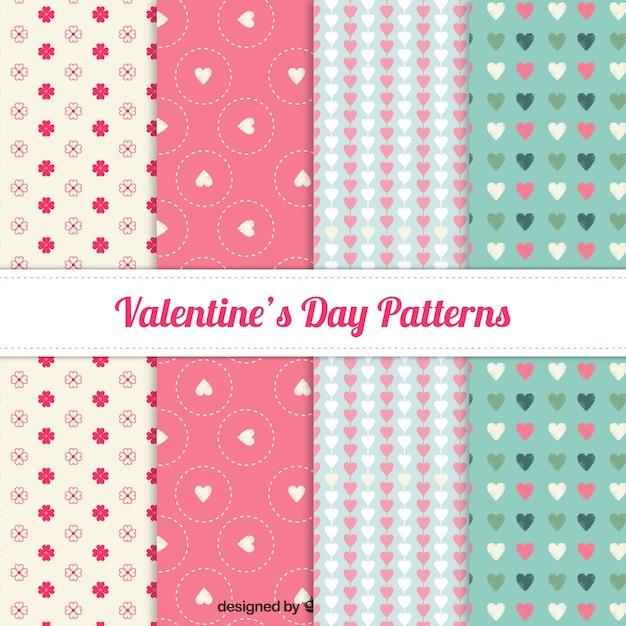 Colección de patrones adorables del día de san valentín Vector Premium