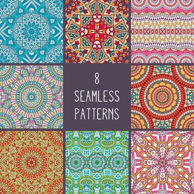 Colección de patrones de estilo boho Vector Gratis