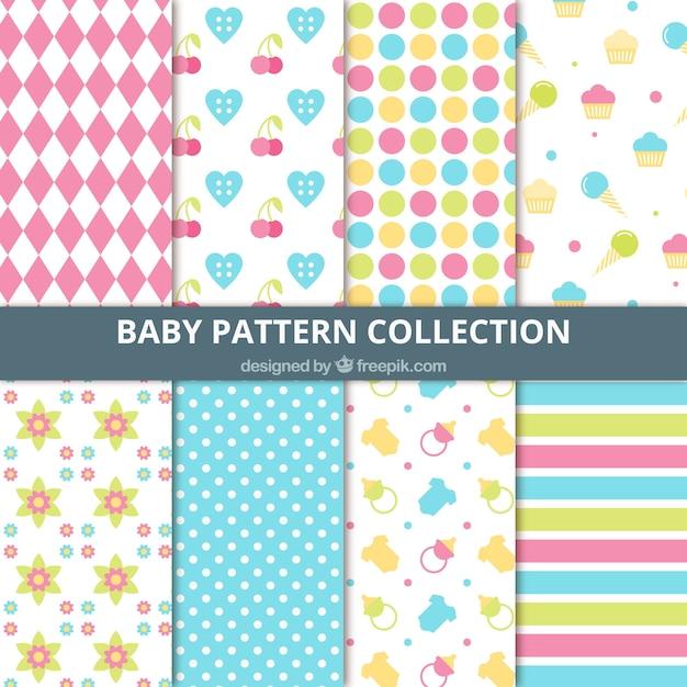 Colección de patrones decorativos abstractos y de elementos de bebés ...