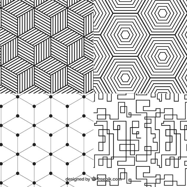 Colección de patrones geometricos Vector Premium