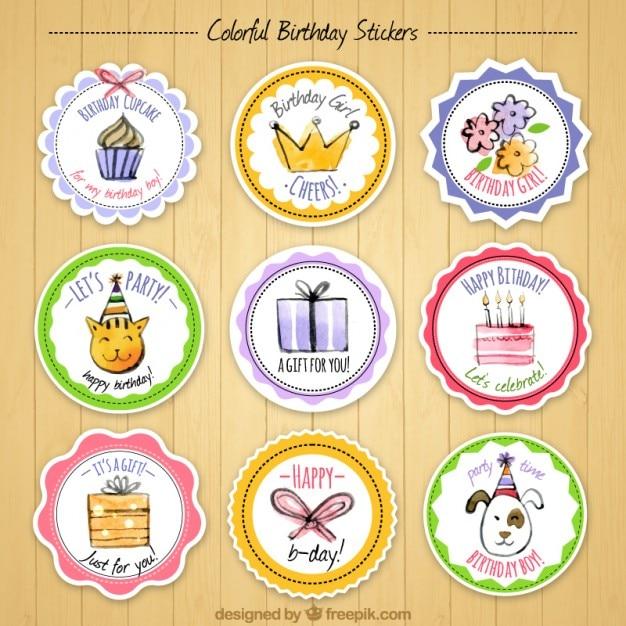 Colección de pegatinas bonitas de acuarela de cumpleaños Vector Gratis