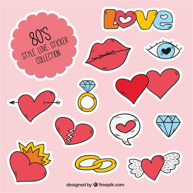 Colecci n de pegatinas de amor en estilo de los a os 80 for Pegatinas decorativas