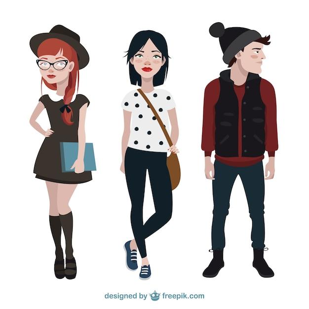 Colección de personajes adolescentes modernos Vector Premium