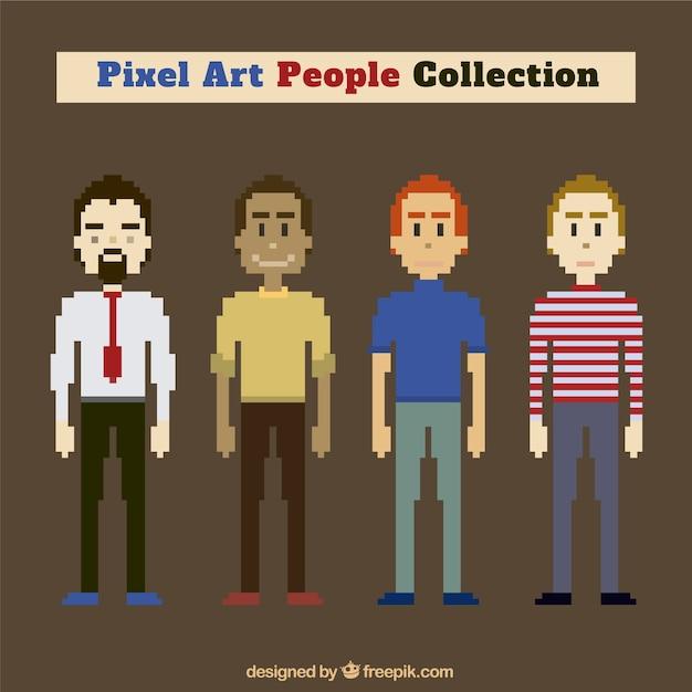 Colección de personajes masculinos en estilo pixel art | Descargar ...