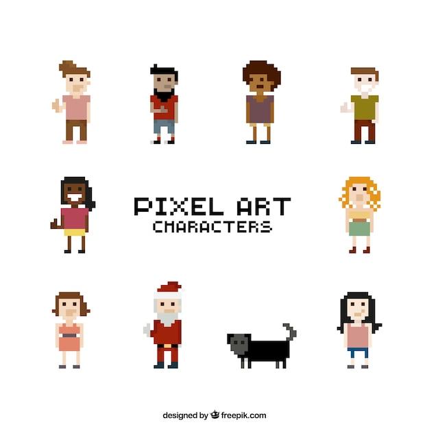 Colección de personajes pixelados | Descargar Vectores gratis