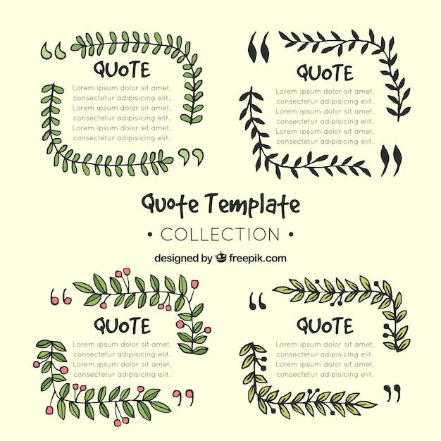 Colección de plantillas con plantas para citas dibujadas a mano ...