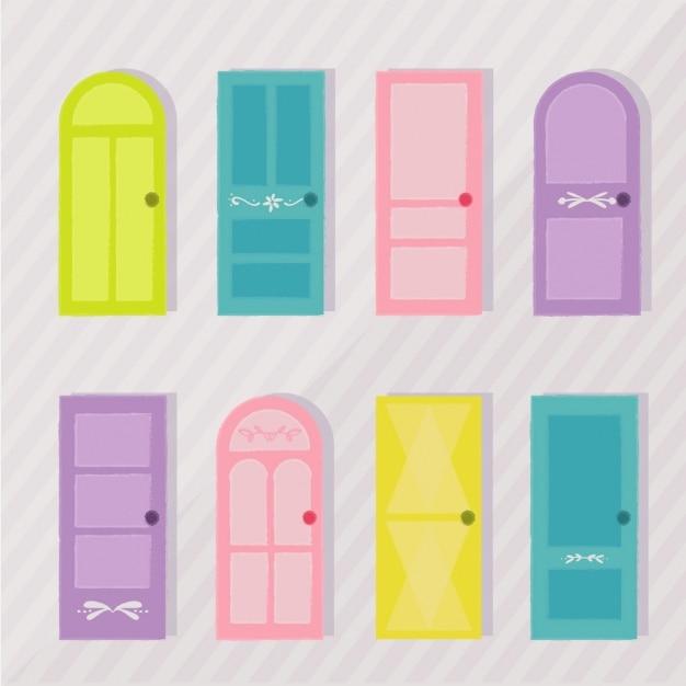 Colecci n de puertas de colores descargar vectores gratis - Colores para puertas ...