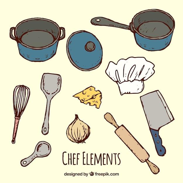 Colecci n de sartenes y otros utensilios de cocina for Utensilios del chef