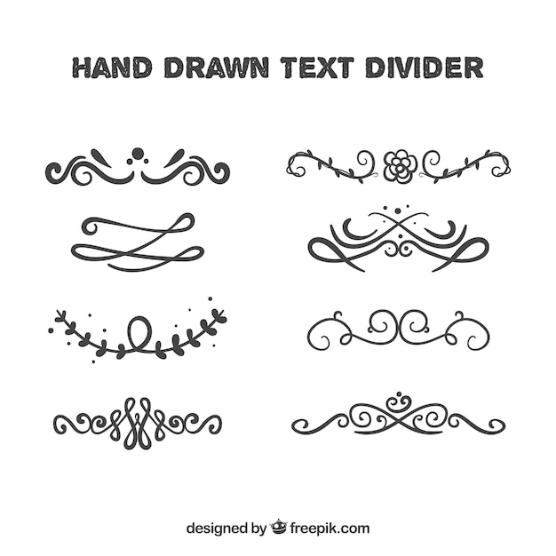 Single Line Font Art : Colección de separadores texto decorativos descargar