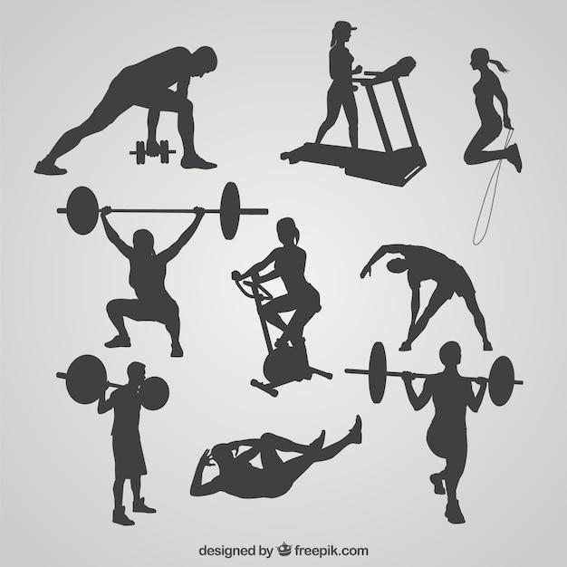 Colección de siluetas de gimnasio de hombres y mujeres