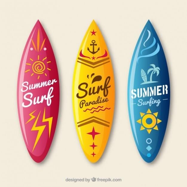 Colecci n de tablas de surf descargar vectores premium - Dibujos para tablas de surf ...