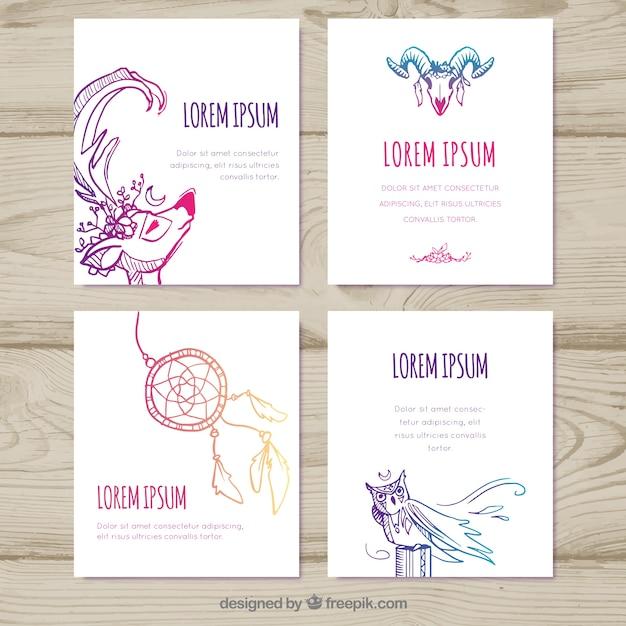 Colección de tarjetas boho con elementos diferentes | Descargar ...