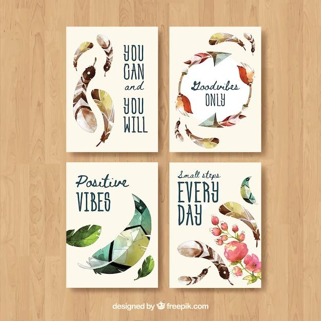 Colección de tarjetas boho con plumas | Descargar Vectores gratis