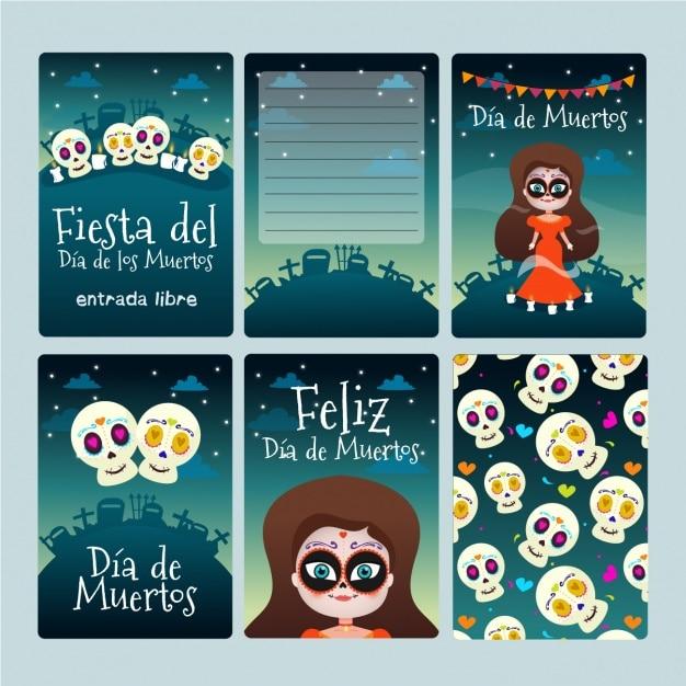 Colección de tarjetas de halloween Vector Gratis