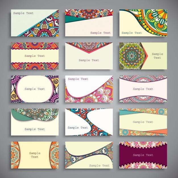 Colección de tarjetas de visita de estilo boho Vector Gratis