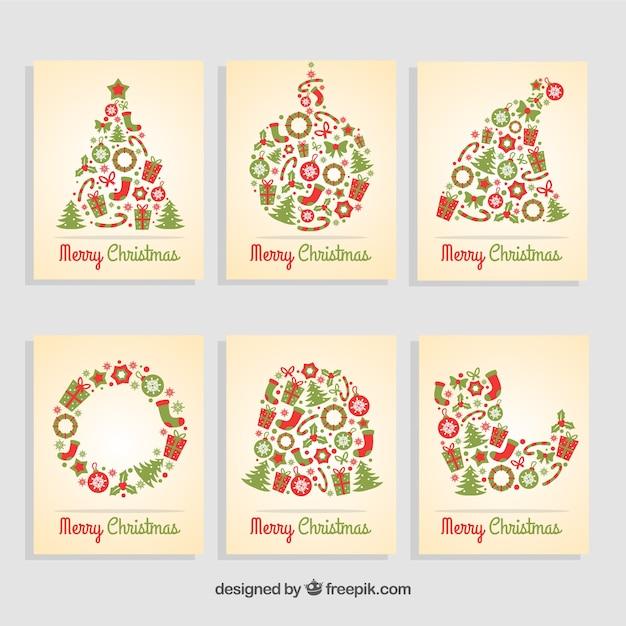 coleccin de tarjetas navideas de vector gratis