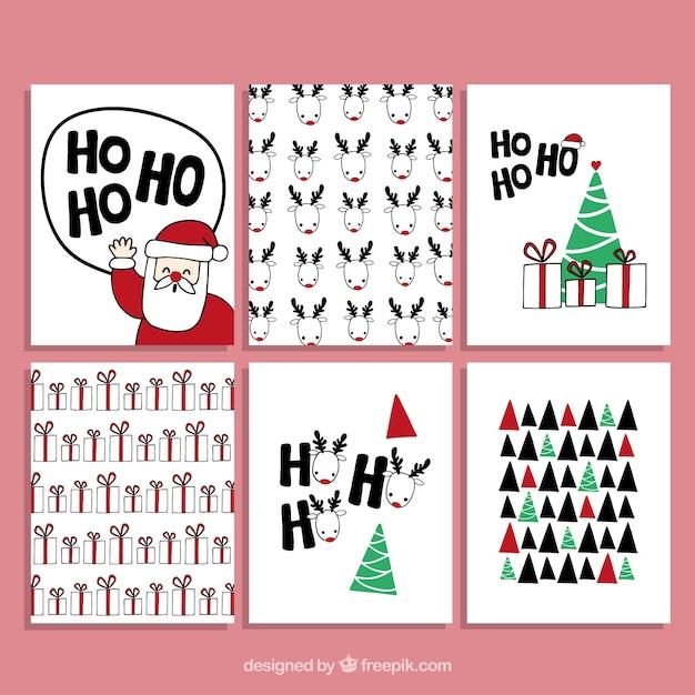 coleccin de tarjetas navideas dibujadas a mano vector gratis
