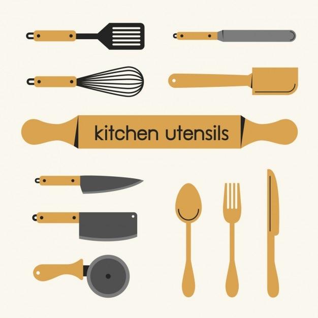 Colecci n de utensilios de cocina descargar vectores gratis for Utensilios de cocina fondo