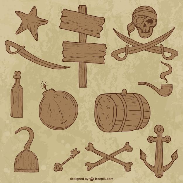 Colección de vectores de piratas con textura de madera | Descargar ...