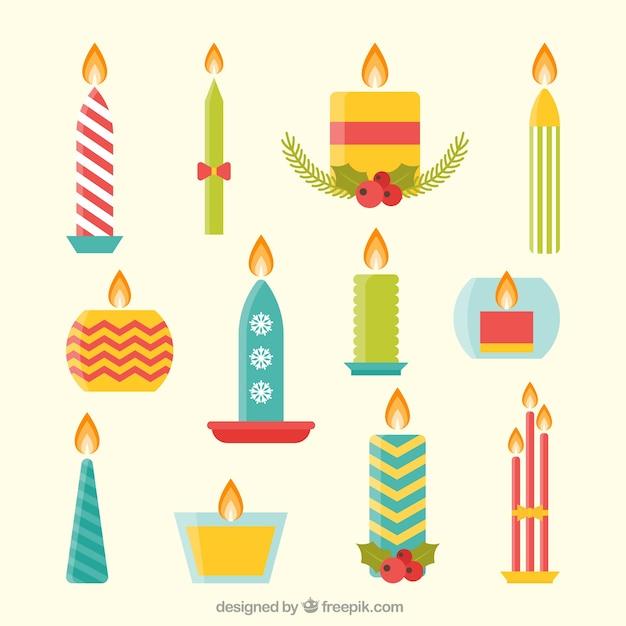 Colecci n de velas navide as en dise o plano descargar - Velas de diseno ...