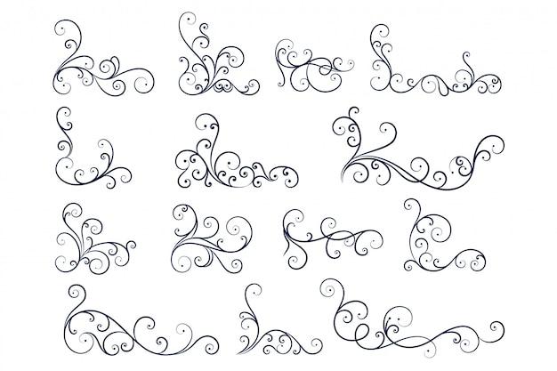 Colección de decoración floral de línea dibujada a mano vector gratuito