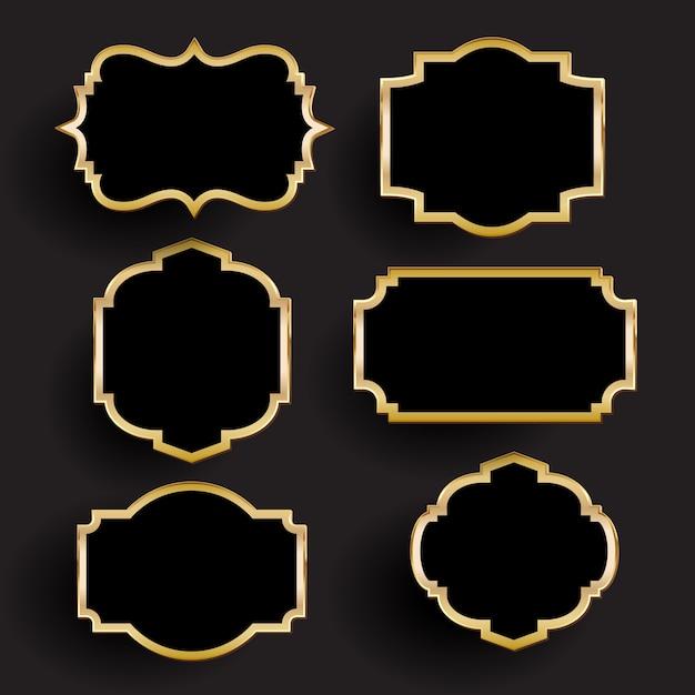 Colección decorativa de marcos dorados y negros vector gratuito